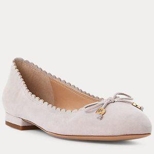 Ralph Lauren Glennie Ballet Flats Grey, New! 10